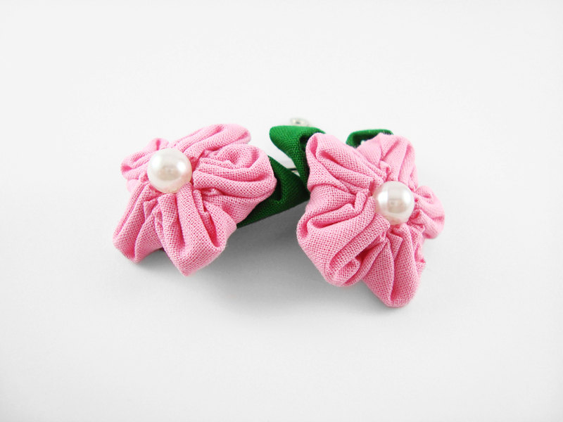 Pink Fabric Flower Hair Clip with Pearl