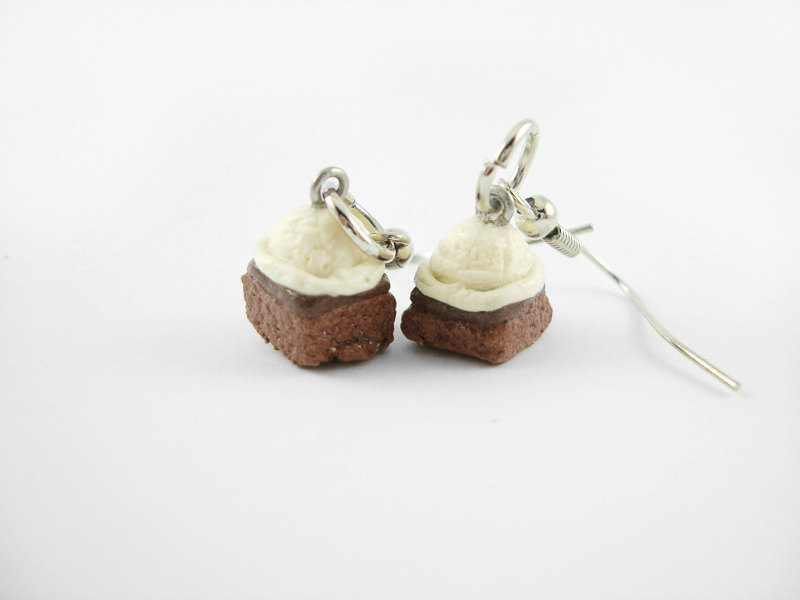 Miniature Brownie and Vanilla Ice Cream Earrings